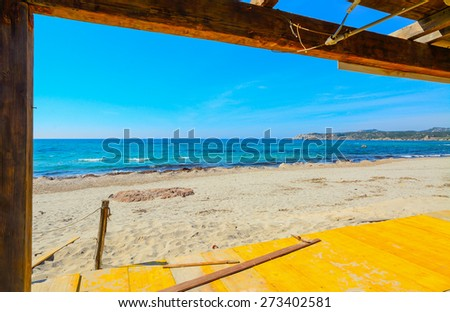 wooden roofing in Rena Majore beach, Sardinia - stock photo