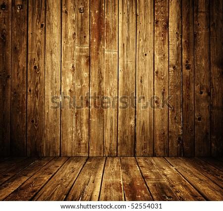 wooden room interior - stock photo