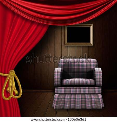 Wooden room interior with armchair and red curtain. - stock photo