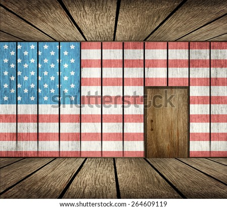 Wooden Room, Wall and Door In USA - US Immigration Background - stock photo