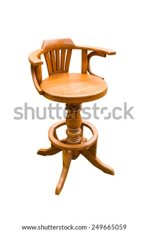 wooden round chair isolated on white background with clipping path - stock photo