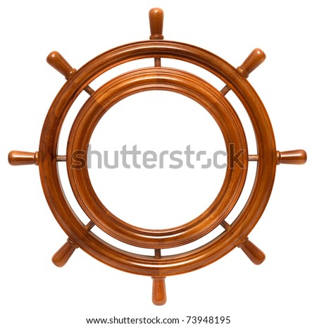 Wooden round frame in helm isolated on white background - stock photo