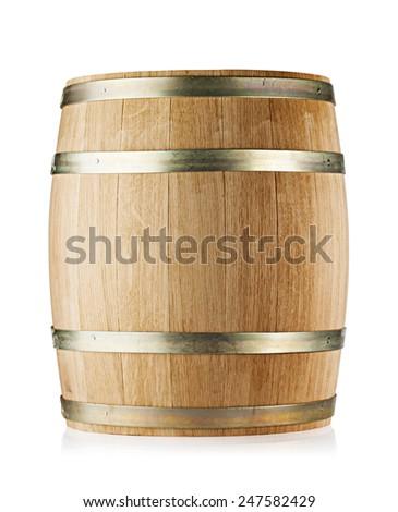 Wooden round oak barrel isolated on white background - stock photo