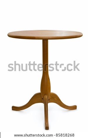 wooden round table over white background - stock photo