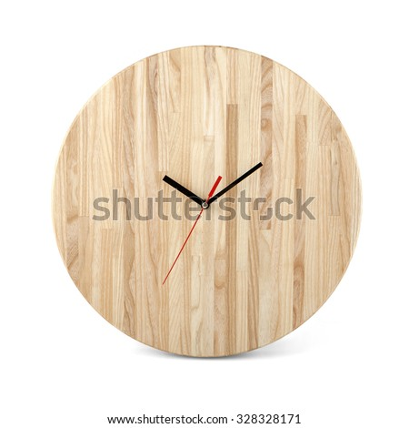 Wooden round wall watch - clock isolated on white background - stock photo