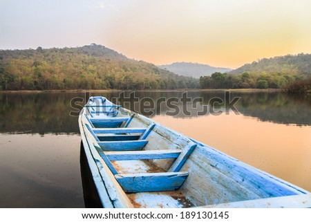 Wooden rowing boat, - stock photo