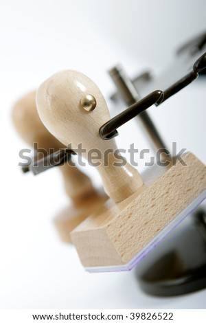 wooden rubber stamps - stock photo