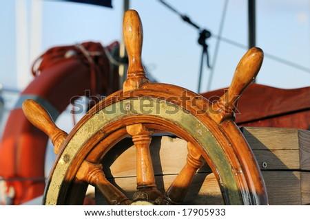 Wooden rudder - stock photo