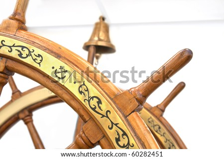 Wooden rudder in a ship - stock photo