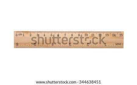 wooden ruler including clipping path - stock photo