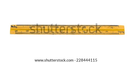 wooden ruler with white background