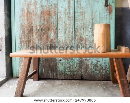 wooden rustic  bench - stock photo