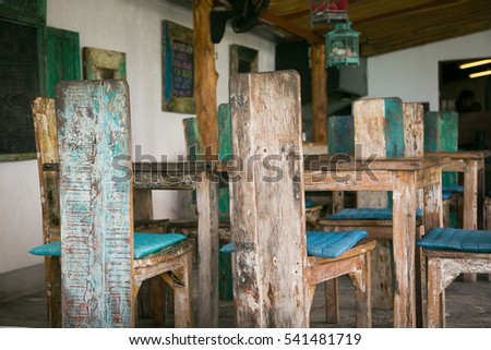 Wooden rustic furniture.