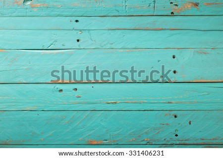 Wooden rustic turquoise background distressed with nail - stock photo