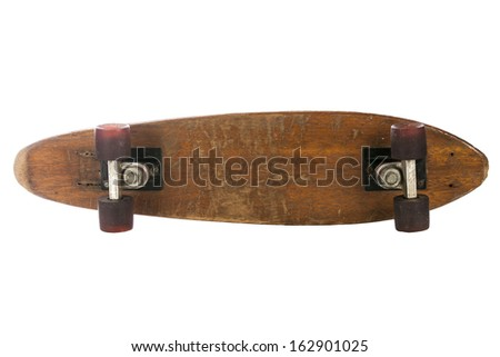 Wooden 70's skate board on a white background, could be used for sign board - stock photo