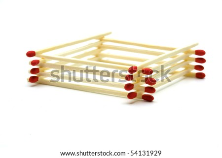 Wooden Safety  matches on white background