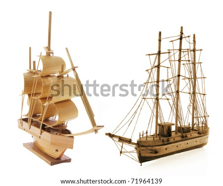 Wooden Sail Boats on White Background