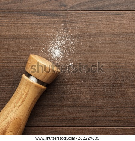 wooden salt shaker on the brown table - stock photo