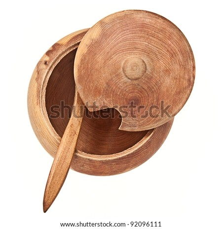 Wooden saltcellar, isolated on white background - stock photo