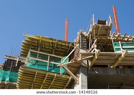 Wooden scaffolding for concrete formation on a construction site