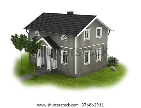 wooden scandinavian home with garden on white background