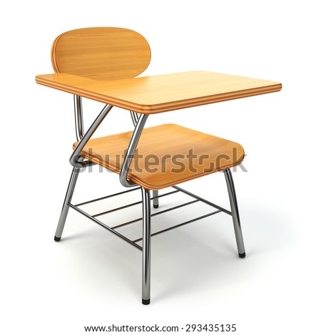 Wooden school desk and chair isolated on white. 3d - stock photo