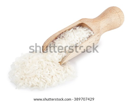 wooden scoop full of white long rice basmati isolated on white background - stock photo