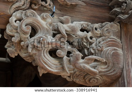 wooden sculpture at Japanese temple, Tokyo - stock photo