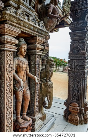 Wooden sculpture in Sanctuary of Truth. Pattaya, Thailand