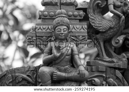 Wooden sculpture of Buddha. Wood carving. Thailand - stock photo