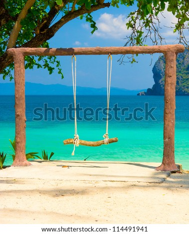 Wooden Seesaw Serene Contemplation - stock photo