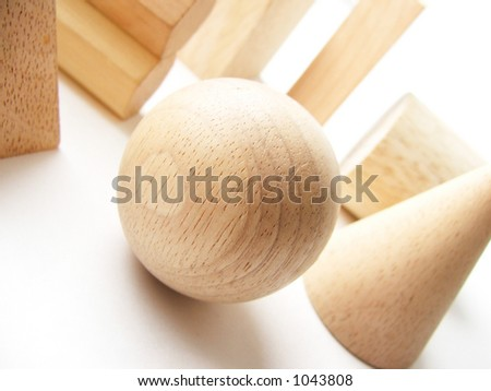 Wooden shapes - stock photo