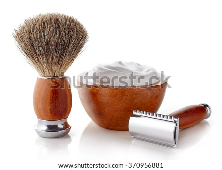 Wooden shaving accessories isolated on white background - stock photo