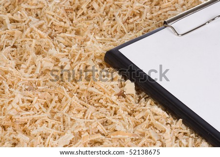 wooden shaving and paper form - stock photo