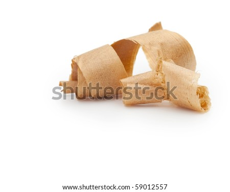 Wooden shavings isolated on white. - stock photo