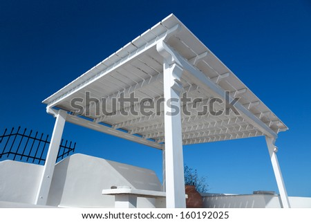 wooden shed at the Villa - stock photo