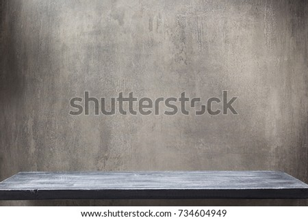 wooden shelf and grey wall background texture