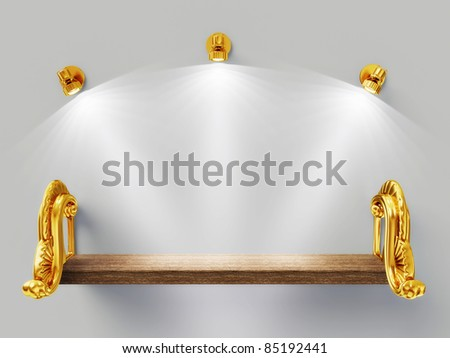 wooden shelf  and three spotlights isolated on gray. - stock photo
