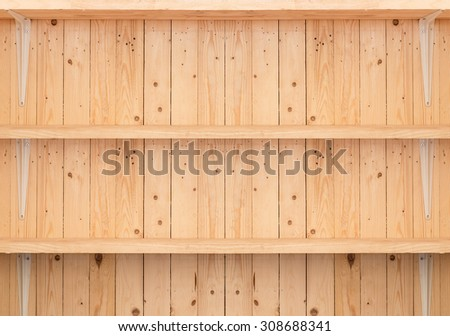 wooden shelf background for product display - stock photo
