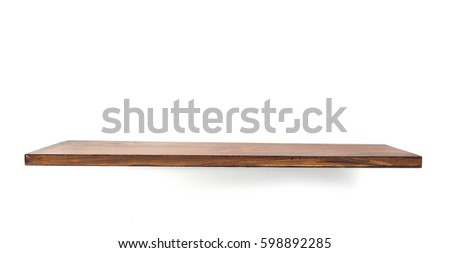 wooden shelf board isolated on white background