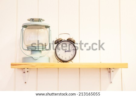 Wooden shelf decoration with Object - stock photo