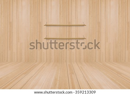 Wooden shelf on the wall.