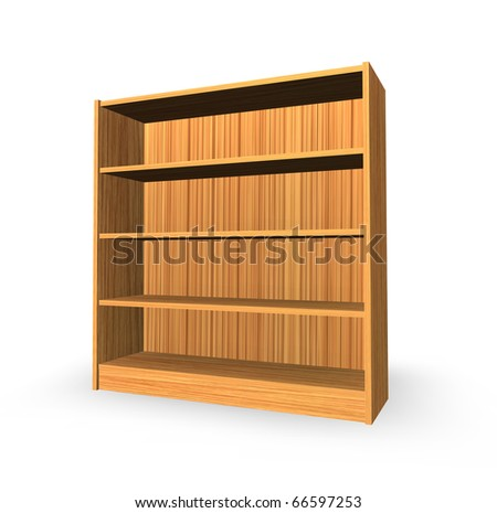 wooden shelf on white background - 3d illustration