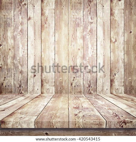 Wooden shelf over wood background - stock photo