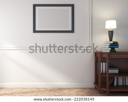 wooden shelf with books and lamp. 3D illustration - stock photo