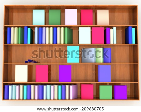 wooden shelf with books of different colors on a white background. - stock photo