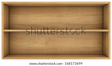 wooden shelves. 3d render on white background.