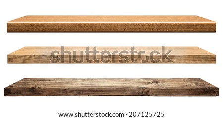 Wooden shelves isolated on white - stock photo