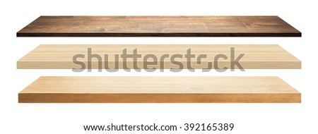 Wooden shelves isolated on white