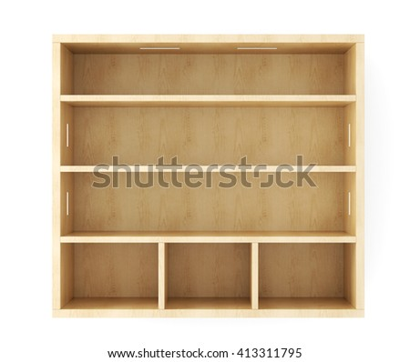 Wooden shelves with built-in lights isolated on white background. 3d rendering. - stock photo